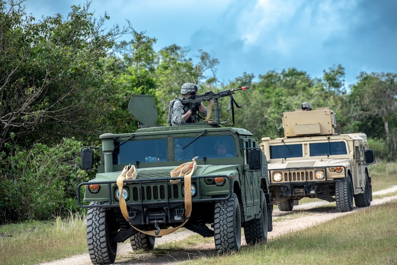 Security Force members conduct mounted patrols during tier 1 and 2 Commando Warrior training at North West Field near Andersen Air Force Base, Guam Dec. 11, 2018. The training was hosted by the 736th Security Forces Squadron as part of the CSAF's Year of the Defender initiative. Sixty-eight active duty and Air National Guard members completed the 14-day course. (U.S. Air Force photo by Master Sgt. JT May III)