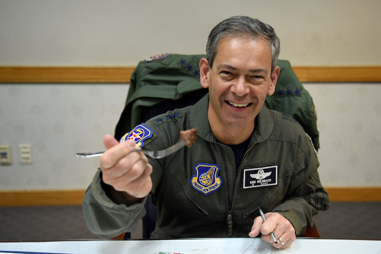 U.S. Air Force Lt. Gen. Kenneth Wilsbach, 7th AF commander, poses for a photo during an immersion tour at Osan Air Base, Republic of Korea, Jan. 11, 2019. Wilsbach was officially the first customer to eat at the 51st Force Support Squadron's Par and Char BBQ restaurant. (U.S. Air Force photo by Senior Airman Kelsey Tucker)