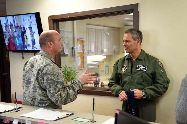 U.S. Air Force Lt. Gen. Kenneth Wilsbach, 7th AF commander, speaks with Lt. Col. Alan Condor, 51st Force Support Squadron commander, about the Osan Child Development Center at Osan Air Base, Republic of Korea, Jan. 11, 2019. Wilsbach toured the facility to learn about its functions and how the children of Team Osan are cared for. (U.S. Air Force photo by Senior Airman Kelsey Tucker)