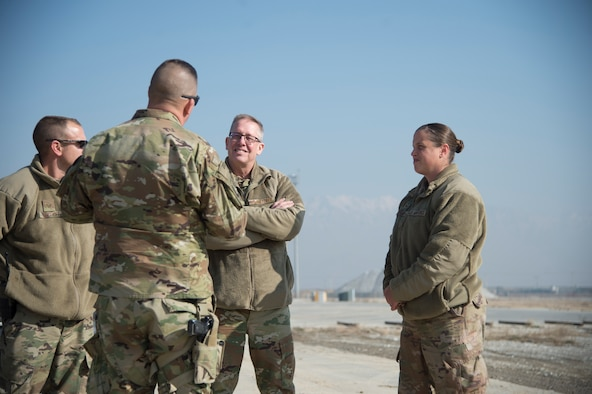 Air Force Maj. Gen. Daryl L. Bohac, the adjutant general of the Nebraska National Guard, and Chief Master Sgt. Tryone Bingham, command chief master sergeant of the Nebraska Air National Guard, visited Guardsmen from their state at Bagram Airfield, Afghanistan Jan. 9, 2019.