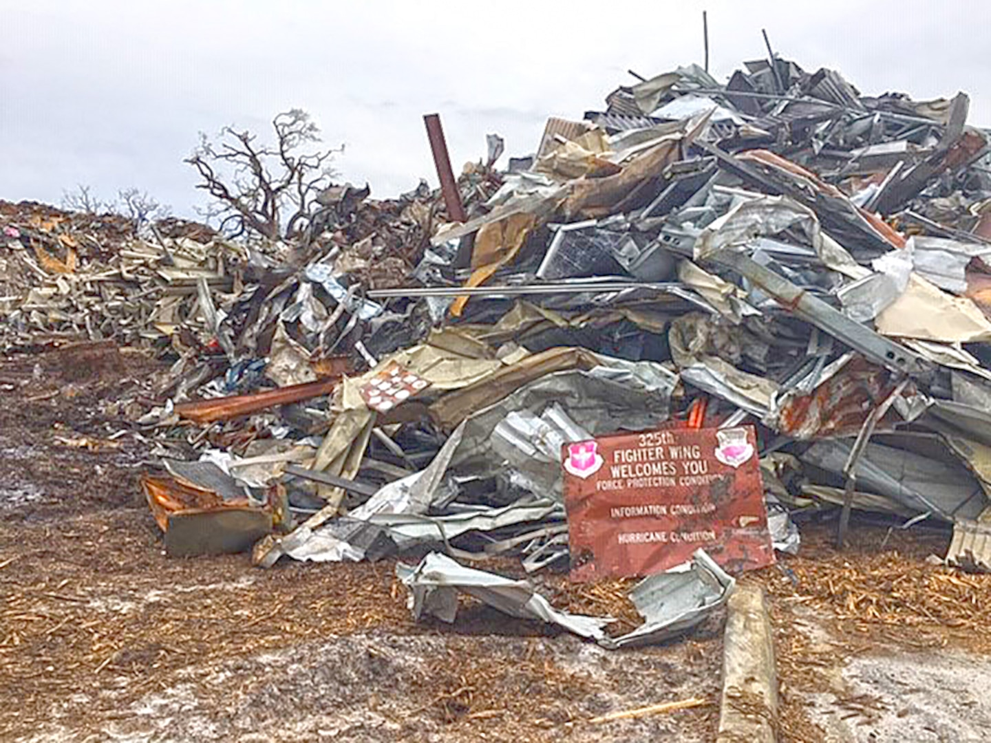 Hurricane Michael created an estimated 15 million pounds of scrap and more than 450 uninhabitable buildings at Tyndall Air Force Base in Florida. DLA Disposition Services personnel scrap disposal coordination at the installation may last as long as six months.