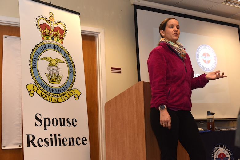 Stephanie Lindner, Master Resiliency Trainer, speaks during a Mindfulness presentation at RAF Mildenhall, England, Jan. 10, 2019. Lindner, Catarina Wyatt and Ryann Paul led the training with a discussion on mindfulness and resiliency and took Team Mildenhall spouses at a local yoga studio for a Restorative Yoga session. (U.S. Air Force photo by Airman 1st Class Brandon Esau)