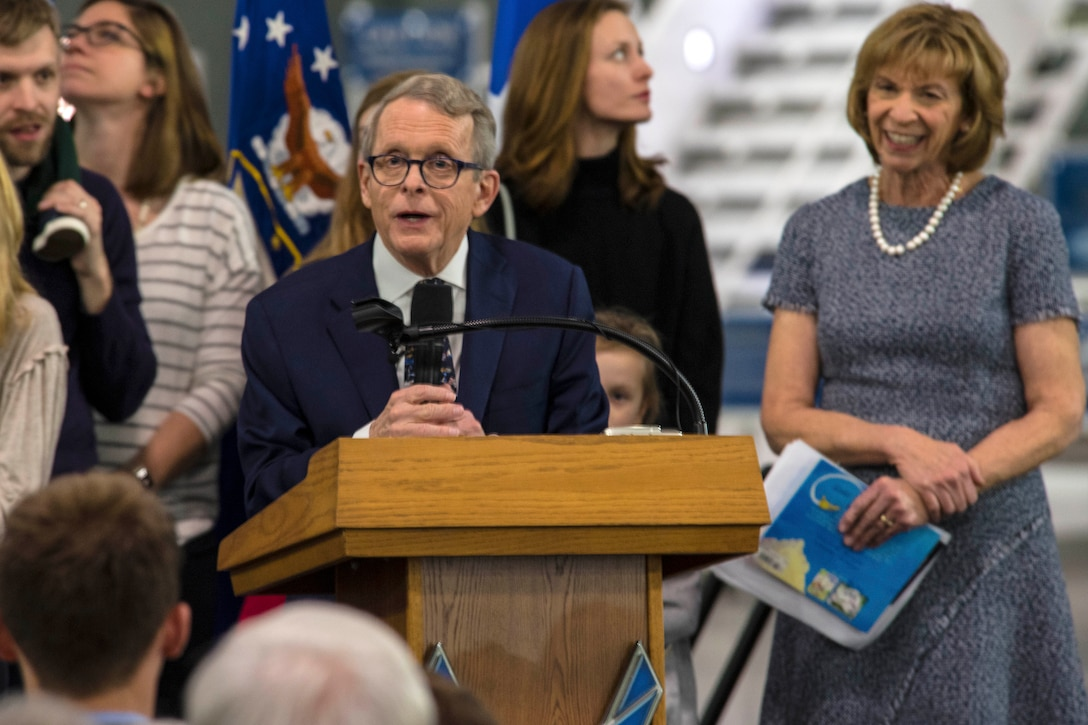 DAYTON, Ohio -- Ohio Governor-elect Mike DeWine and his wife Fran both provided comments on Jan 13, 2019 at the National Museum of the U.S. Air Force as part of the Science, Discovery and Family Fun Event. (U.S. Air Force photo by Ken LaRock)
