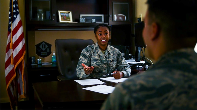 2nd Lt. Alexis Shaw, 315th Training Squadron student, worked with the Area Defense Counsel to offer legal advice to Airmen who may be in legal trouble. The ADC is a separate chain of command and confidential, so nothing discussed is reported to your local commander. (U.S. Air Force photo by 1st Lt. Joshua Foley/Released)