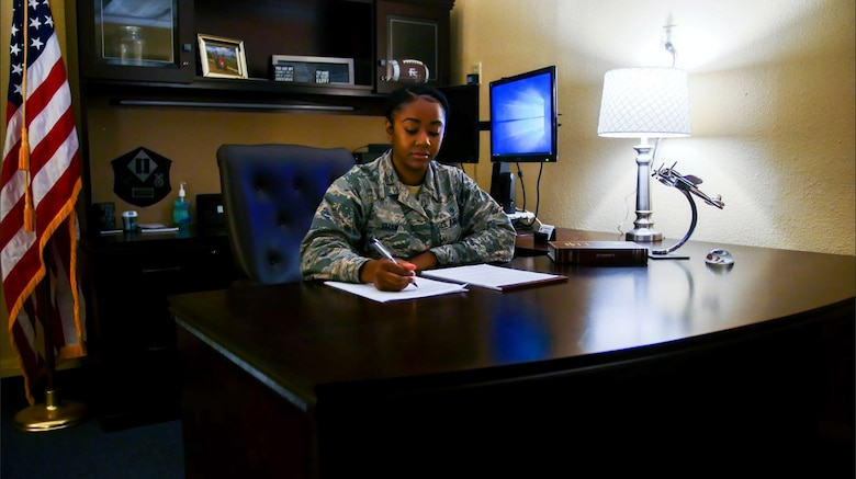 2nd Lt. Alexis Shaw, 315th Training Squadron student, worked as the acting defense paralegal with the Area Defense Counsel while on casual status. She first became interested in law back in high school when she participated in Teen Court. (U.S. Air Force photo by 1st Lt. Joshua Foley/Released)