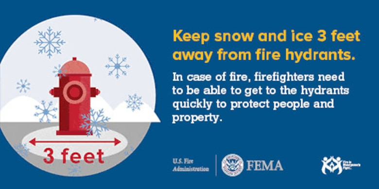 Keep snow and ice 3 feet away from fire hydrants. Firefighters need to be able to access the hydrants quickly in case of fire. (Courtesy photo from www.usfa.dema.gov)