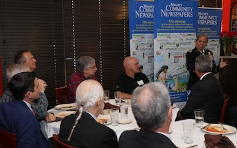 U.S. Army Maj. Gen. Patricia Anslow, Chief of Staff at U.S. Southern Command (SOUTHCOM), speaks to more than 50 business and civic leaders January 14 during a luncheon hosted by Miami's Community Newspapers in Pinecrest, Fla.