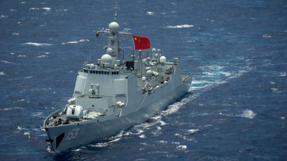 Chinese destroyer moves through the water