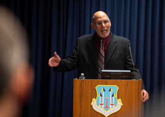 Dr. Jack A. Taylor Jr., speaks to members of Team Kirtland at the Dr. Martin Luther King Jr. Observance ceremony at Kirtland Air Force Base, N.M., Jan. 15, 2019. Dr. Taylor is a member of the Office of African American Affairs' Executive Board and Education Committee and serves as a mentor to students in Albuquerque schools. (U.S. Air Force photo by Staff Sgt. J.D. Strong II)