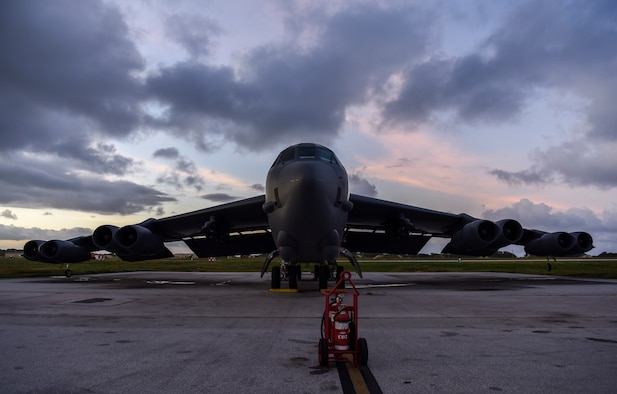 A B-52 Stratofortress bomber from the 5th Bomb Wing at Minot Air Force Base (AFB), North Dakota, sits on the flightline at Andersen AFB, Guam, Jan. 15, 2019.