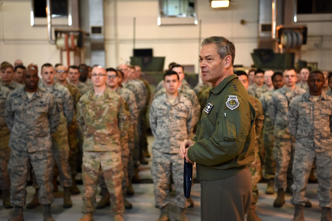 U.S. Air Force Lt. Gen. Kenneth Wilsbach, 7th AF commander, speaks with Airmen assigned to the 51st Logistics Readiness Squadron during an immersion tour at Osan Air Base, Republic of Korea, Jan. 11, 2019. Wilsbach visited multiple facilities on base during the tour, including the 51st LRS vehicle maintenance bay, the 51st Fighter Wing headquarters, and the newly opened Morin Gate. (U.S. Air Force photo by Senior Airman Kelsey Tucker)