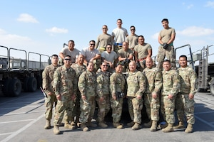 The 380th Expeditionary Logistics Readiness Squadron Air Terminal Operations Center Reservists from the 44th Aerial Port Squadron take a group photo Dec. 24, 2018 at Al Dhafra Air Base, United Arab Emirates.