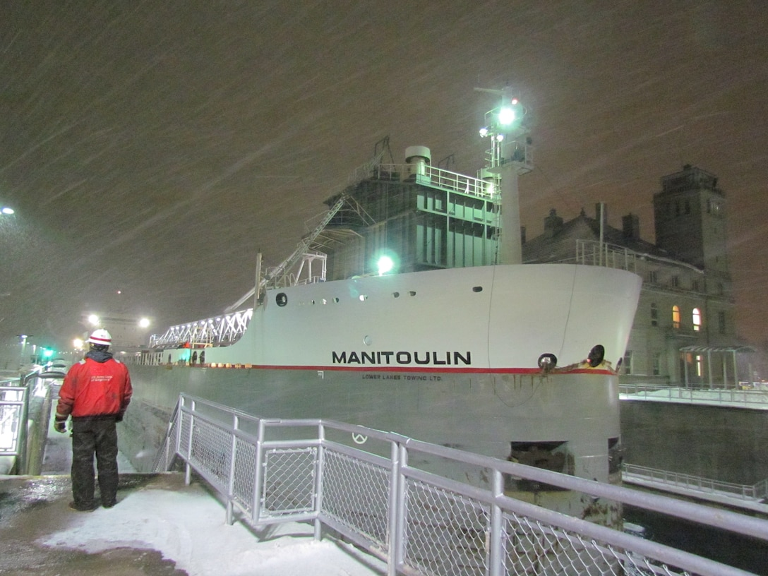 The last vessel to traverse through the Soo Locks for the 2018-2019 shipping season was Motor Vessel Manitoulin.