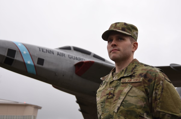 U.S. Air Force 2nd Lt. William, a flight commander at the 118th Wing, Tennessee Air National Guard, poses for a photo on Jan. 13, 2019, at Berry Field Air National Guard Base, Nashville. William used the education and opportunities provided by the Guard to spark a career change from the fast food industry to the cybersecurity field.