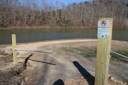 Corps of Engineers park rangers at Center Hill Lake recently barricaded areas along the roadways in the Cane Hollow area to prevent off-road vehicle access.  This photo shows the barrier Jan. 11, 2019.  (USACE photo by Ashley Webster)