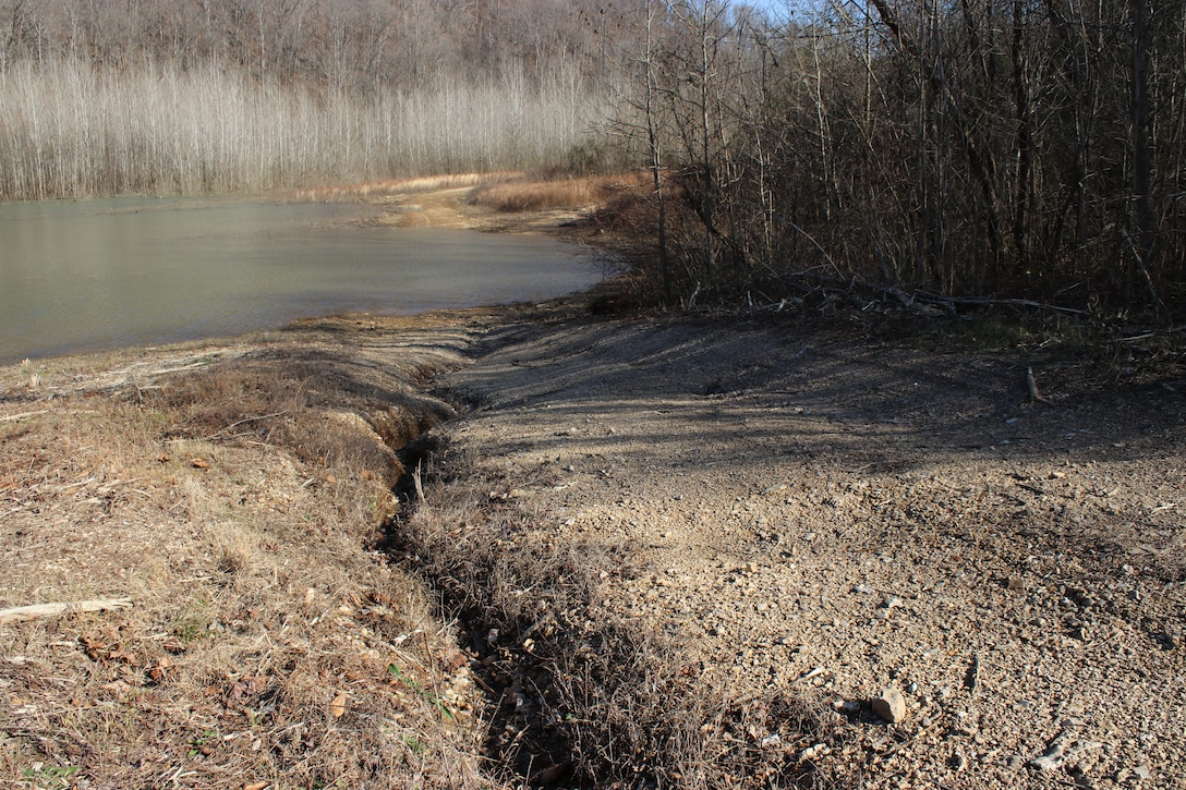 Erosion leading to Center Hill Lake is evident along the shoreline Jan. 11, 2019 due to the establishment of unauthorized off-road vehicle trails.  (USACE photo by Ashley Webster)