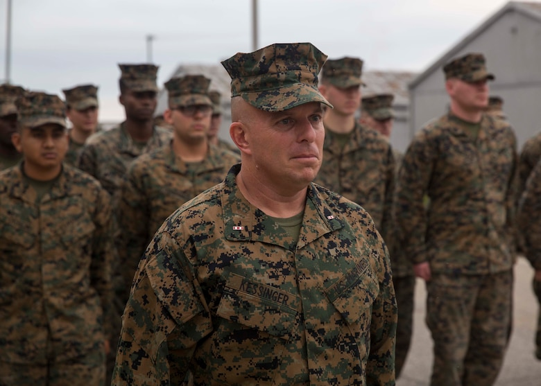 U.S. Marine Corps Chief Warrant Officer Matthew Kessinger, personnel officer of 6th Marine Corps District, stands at the position of attention during his promotion to chief warrant officer five aboard Marine Corps Recruit Depot Parris Island, South Carolina, Dec. 19, 2018. Kessinger, a native of Louisville, Kentucky, has currently served 28 years in the Marine Corps. (U.S. Marine Corps photo by Lance Cpl. Jack A. E. Rigsby)