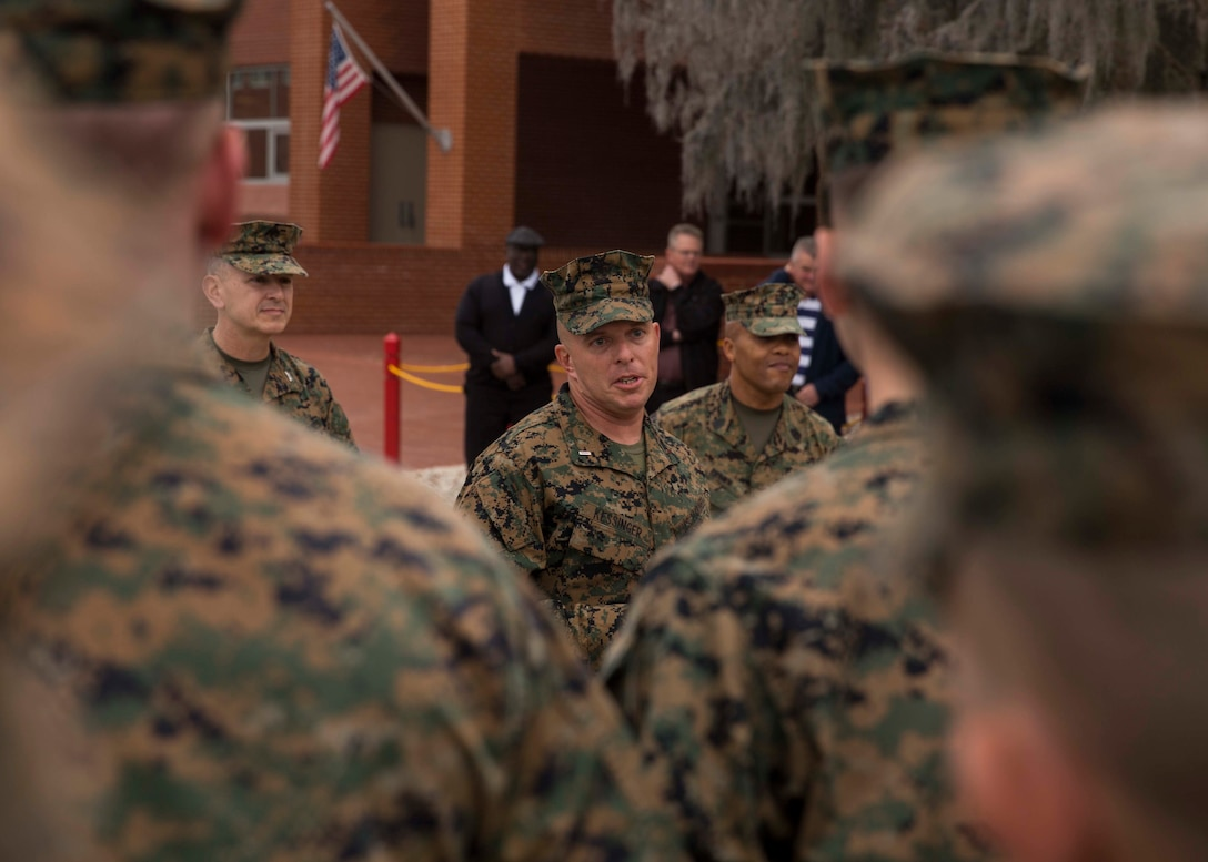 U.S. Marine Corps Chief Warrant Officer Matthew Kessinger, personnel officer of 6th Marine Corps District, speaks to guests at his promotion to chief warrant officer five aboard Marine Corps Recruit Depot Parris Island, South Carolina, Dec. 19, 2018. Kessinger, a native of Louisville, Kentucky, has currently served 28 years in the Marine Corps. (U.S. Marine Corps photo by Lance Cpl. Jack A. E. Rigsby)