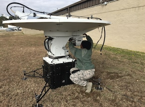 "Air Force MSgt. Lakisha DeJesus, the transmission systems noncommissioned officer-in-charge at Joint Task Force Civil Support (JTF-CS), participates in the command's first tactical satellite (TACSAT) communication exercise (COMMEX) of the new year January 15, 2019 at Felker Army Airfield on Fort Eustis in preparation for exercise Sudden Response 19 (SR19) held on January 24-30. SR19, held at Fort Bragg, NC this year, is a command-led exercise that tests JTF-CS and Defense Chemical, Biological, Radiological and Nuclear (CBRN) Response Force (DCRF) capabilities to response to a catastrophic CBRN event. When directed, JTF-CS is ready to respond in 24 hours to provide command and control of 5,200 federal military forces located at more than 36 locations throughout the nation in support of civil authority response operations to save lives, prevent further injury and provide critical support to enable community recovery. (Official DoD photo by David ""Rick"" George/released)"