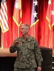 Adm. Craig S. Faller, commander of U.S. Southern Command, speaks to the U.S. Army South personnel during a town hall at Joint Base San Antonio-Fort Sam Houston Jan. 10.