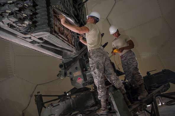 Senior Airman Collin Tully, left, 727th Expeditionary Air Control Squadron, Detachment 3 (EACS DET 3) radar maintainer, and Staff Sgt. Matthew Hawkins, 727th EACS DET 3 radar maintenance NCO in charge, conduct routine maintenance on a transportable radar system (TPS-75) Jan. 14, 2019, at Al Udeid Air Base, Qatar. The 727th EACS consists of a team of 23 Airmen from seven different Air Force Specialty Codes. Together, they ensure TPS-75 radar systems are prepared to identify any aircraft within a 240 nautical mile range of Al Udeid. (U.S. Air Force Tech. Sgt. Christopher Hubenthal)