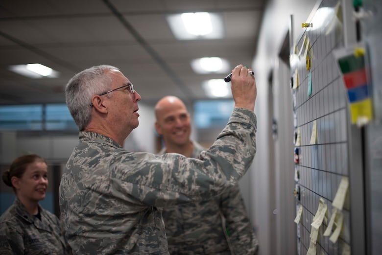 Col. Brian Agee, Air Force Space Command Surgeon General Chief of Aerospace Medicine, goes over the daily improvements board, with Lt. Col. Meredith Sarda and Maj. Chris Noah, during the morning meeting at Peterson Air Force Base, Colorado, Oct. 19, 2018. Medical Airmen assigned to U.S. Air Force Space Command are charged with delivering care to the Airmen who launch, monitor and operate the Air Force's satellite systems. (U.S. Air Force photo by Dave Grim)
