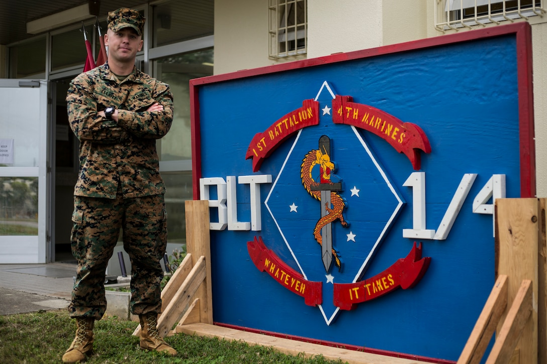 United States Marine Corps 1st Lt. Sterling Elliot, the Operations Officer with 1st Battalion, 4th Marine Regiment, pictured here aboard Marine Corps Base Camp Hansen in Okinawa, Japan, was one of seven Marines who acted quickly to save an U.S. Airman's life following a recent motorcycle accident Dec. 31, 2018.  Elliot, a native of Katy, Texas, stayed with the injured airman providing body support stabilization, he also flew back with the injured airman on the helicopter to the U.S. Naval Hospital Okinawa as an escort.