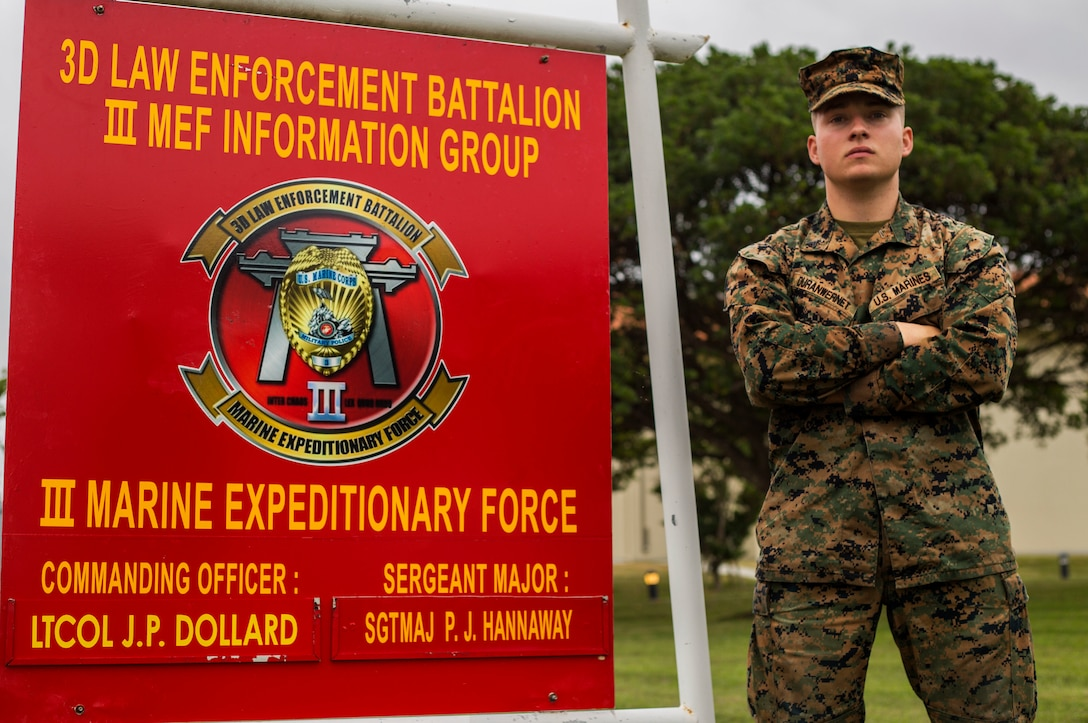 United States Marine Corps Cpl. Devan Duranwernet, a training non-commissioned officer with 3rd Law Enforcement Battalion pictured here aboard Marine Corps Base Camp Hansen in Okinawa, Japan, was one of seven Marines who acted quickly to save an U.S. Airman's life following a recent motorcycle accident Dec. 31, 2018.  Duranwert, a native of Charleston, S.C., started to support the injured airman's body by stabilizing their head to ensure they didn't move from being in major shock.