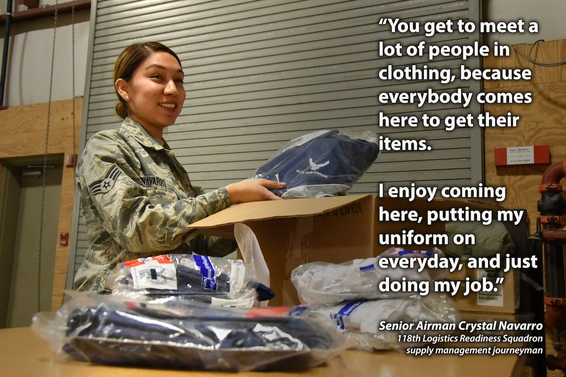 U.S. Air Force Senior Airman Crystal Navarro, a supply management journeyman with the 118th Logistics Readiness Squadron, Tennessee Air National Guard, unpacks a box of physical training uniforms on Dec. 27, 2018 at Berry Field Air National Guard Base, Nashville, Tennessee.