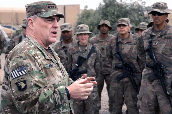 Chief of Staff of the Army Gen. Mark A. Milley speaks to Soldiers at Qayyarah Airfield West, Iraq, on Dec. 22, 2017. While there has been recent progress in readiness, Milley said that it still remains the Army's top priority.