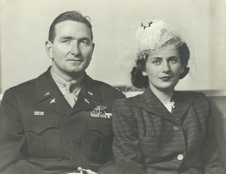 Retired Air Force Col. John Watters and his wife, Jean, pose for a wedding photo after World War II. Watters passed away in 2018 and his family donated his military literature collection to Offutt Air Force Base, Nebraska. (U.S. Air Force courtesy photo)