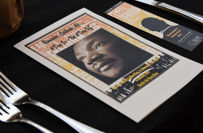 An event program is on display at the annual Dr. Martin Luther King Jr. Memorial Luncheon at the Bay Breeze Event Center on Keesler Air Force Base, Mississippi, Jan. 15, 2019. The 81st Training Wing and Wing Staff Agencies hosted the event honoring King's legacy and his efforts to inspire civil rights activism within the African-American community. He is widely regarded as America's pre-eminent advocate of nonviolence and one of the greatest nonviolent leaders in world history. (U.S. Air Force photo by Kemberly Groue)