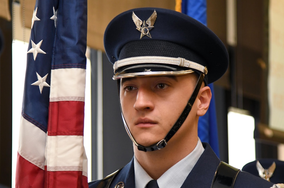 U.S. Air Force Senior Airman Miklo Miller, Keesler Honor Guard member, presents the colors at the annual Dr. Martin Luther King Jr. Memorial Luncheon inside the Bay Breeze Event Center at Keesler Air Force Base, Mississippi, Jan. 15, 2019. The 81st Training Wing and Wing Staff Agencies hosted the event honoring King's legacy and his efforts to inspire civil rights activism within the African-American community. He was only 35 years old when he was awarded the Nobel Peace Prize in 1964. (U.S. Air Force photo by Kemberly Groue)