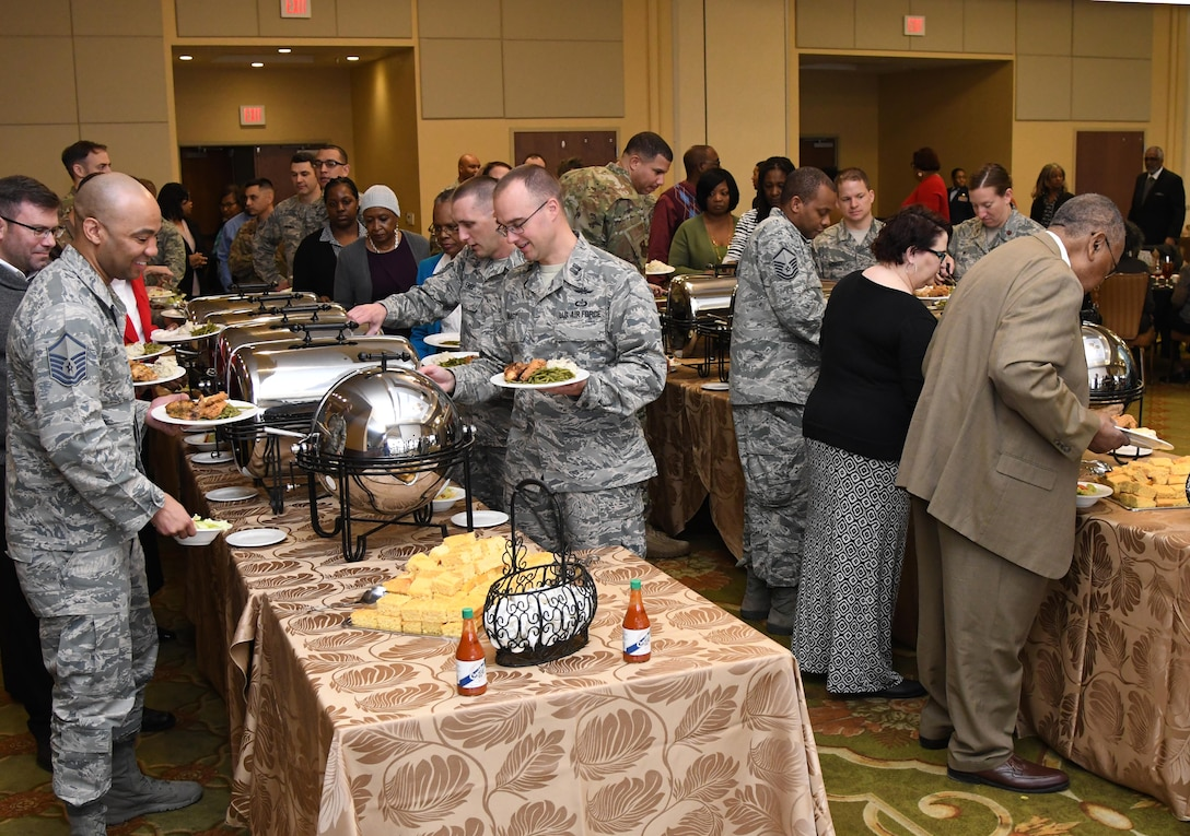 eesler personnel attend the annual Dr. Martin Luther King Jr. Memorial Luncheon inside the Bay Breeze Event Center at Keesler Air Force Base, Mississippi, Jan. 15, 2019. The 81st Training Wing and Wing Staff Agencies hosted the event honoring King's legacy and his efforts to inspire civil rights activism within the African-American community. He is widely regarded as America's pre-eminent advocate of nonviolence and one of the greatest nonviolent leaders in world history. (U.S. Air Force photo by Kemberly Groue)