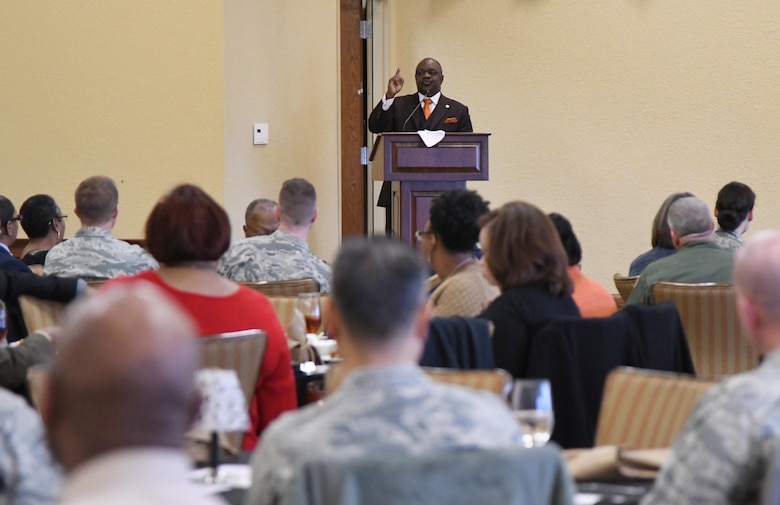 Reverend Dr. Kenneth M. Davis, speaks at the annual Dr. Martin Luther King Jr. Memorial Luncheon inside the Bay Breeze Event Center at Keesler Air Force Base, Mississippi, Jan. 15, 2019. The 81st Training Wing and Wing Staff Agencies hosted the event honoring King's legacy and his efforts to inspire civil rights activism within the African-American community. In 1994, Congress designated the Martin Luther King Jr. Federal Holiday a national day of service and charged the Corporation for National and Community Service with leading the effort. (U.S. Air Force photo by Kemberly Groue)