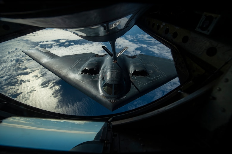 A B-2 Spirit bomber deployed from Whiteman Air Force Base, Missouri, conducts aerial refueling near Joint Base Pearl Harbor-Hickam, Hawaii, during an interoperability training mission Jan. 15, 2019.