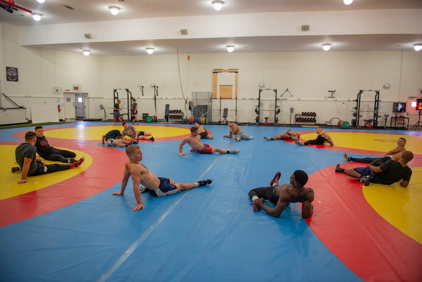 Wrestlers stretching