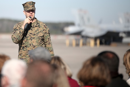 Lt. Col. Jonathan Curtis addresses a crowd during VMFA-115's change of command ceremony aboard Marine Corps Air Station Beaufort, Jan. 11. During the ceremony