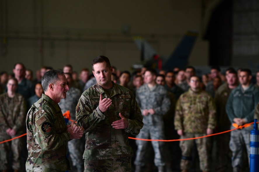 This marked his second time visiting the base in 12 months. (U.S. Air Force photo by Senior Airman Christian Clausen)