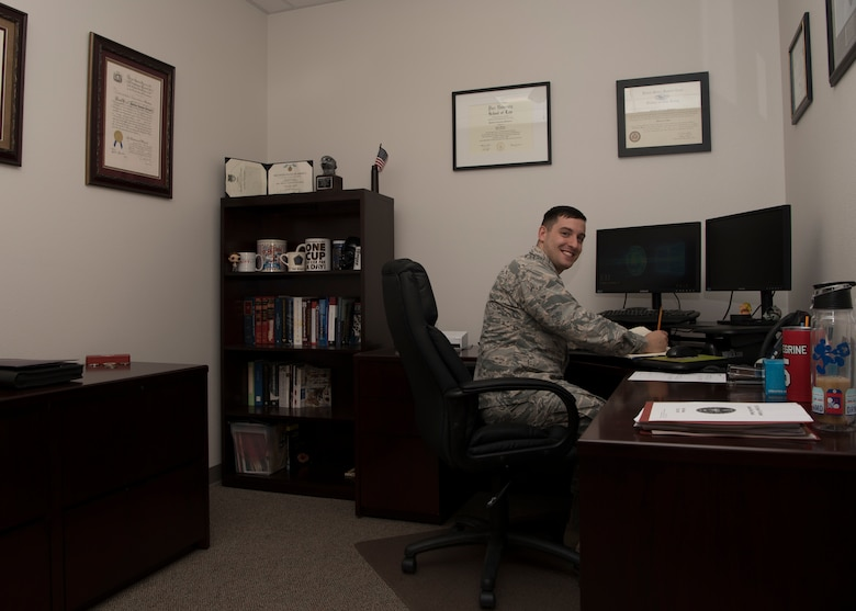Capt. Matthew Pellegrine, 49th Wing special victims' counsel, poses for a picture Jan. 11, 2019, in the Special Victims' Counsel Office on Holloman Air Force Base, N.M. The SVC offers confidential legal advice to victims of an offense under the Uniform Code of Military Justice. (U.S. Air Force photo by Airman Autumn Vogt)