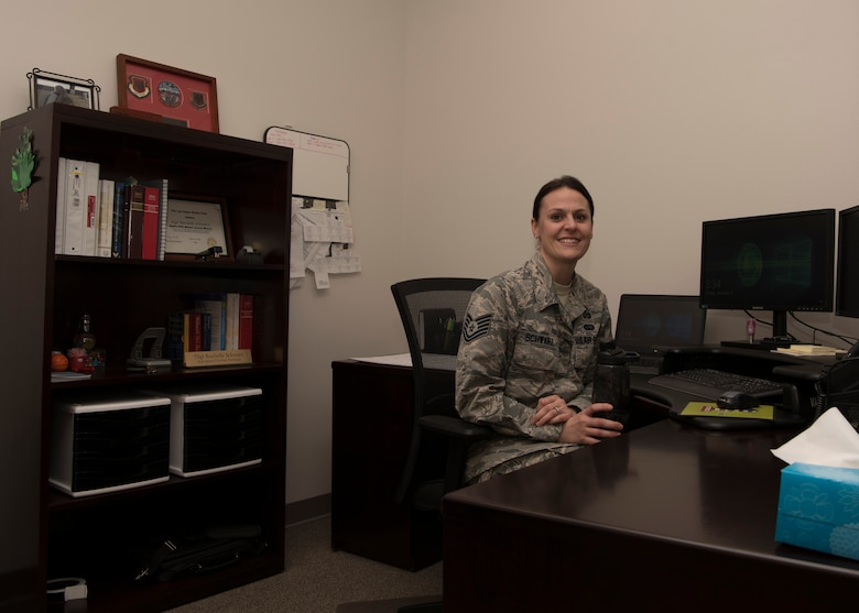 Tech. Sgt. Rochelle Schwarz, 49th Wing special victims paralegal, poses for a picture Jan. 11, 2019, in the Special Victims' Counsel Office on Holloman Air Force Base, N.M. The SVC offers confidential legal advice to victims of an offense under the Uniform Code of Military Justice. (U.S. Air Force photo by Airman Autumn Vogt)
