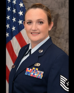 Tech. Sgt. Lauren Kelly, 507th Air Refueling Wing Public Affairs operations chief, poses for an official photograph at Tinker Air Force Base, Oklahoma. (U.S. Air Force courtesy photo)