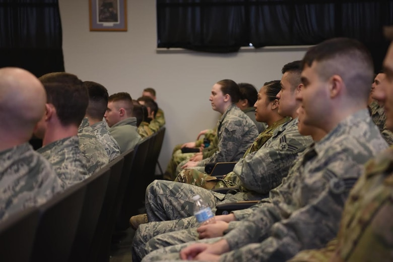Airman Leadership School students listen to instruction at Minot Air Force Base, N.D., Jan. 15, 2019. Approximately seven classes are taught throughout the year, transitioning roughly 448 students from Airmen to NCOs. (U.S. Air Force photo by Airman 1st Class Heather Ley)