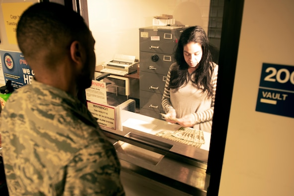 PETERSON AIR FORCE BASE, Colo. – Airman 1st Class Kennedy Smalls, 21st Comptroller Squadron fi-nance technician, reviews member military pay records and action requests at Peterson Air Force Base, Colorado, Jan. 9, 2019. Smalls processes dependent discrepancies, member pay adjustments and entitlements. (U.S. Air Force photo by Cameron Hunt)