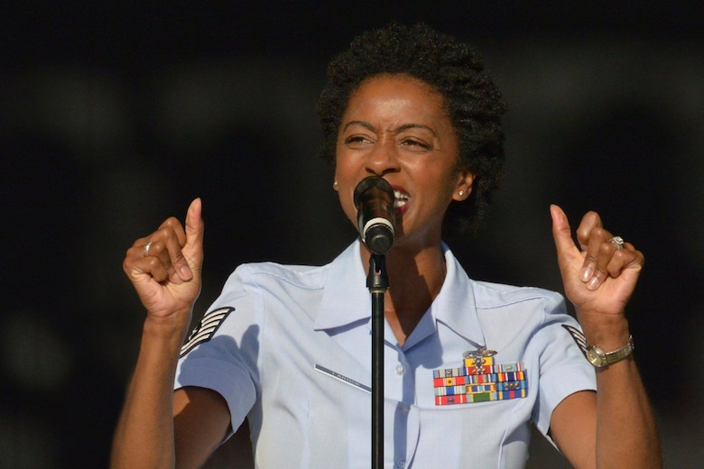 DAYTON, Ohio - TSgt.Felita LaRock performing with the Air Force Band of Flight in July 2014 at the Fraze Pavilion. (U.S. Air Force photo by Ken LaRock)