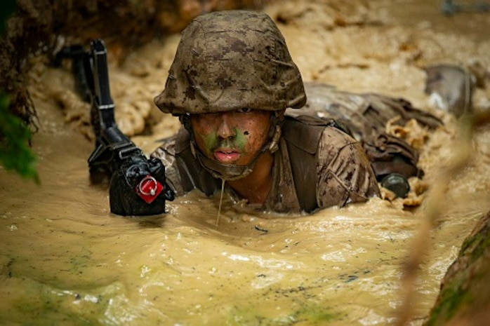 A U.S. Marine officer candidate of the Officer Candidates School participates in the OCS combat course at Marine Corps Base Quantico.