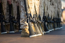 U.S Marine officer candidates with the Officer Candidate School, participate in close order drill, at Marine Corps Base Quantico
