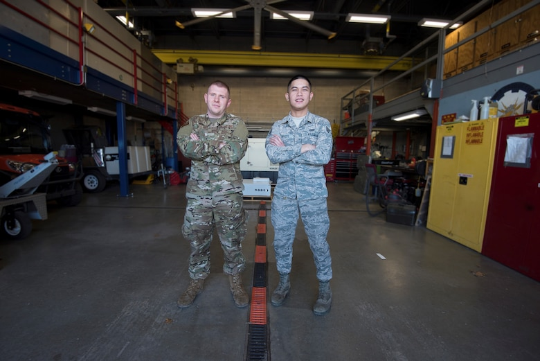 Senior Airmen Angus J. Bailey and Brandon Gene B. Arroyo assigned to the electrical power pro section of the 509th Civil Engineer Squadron, mobilized to Tyndall AFB, Fl. with 10 other 509th CES Airmen in the aftermath of Hurricane Michael from mid-November to December 2018.