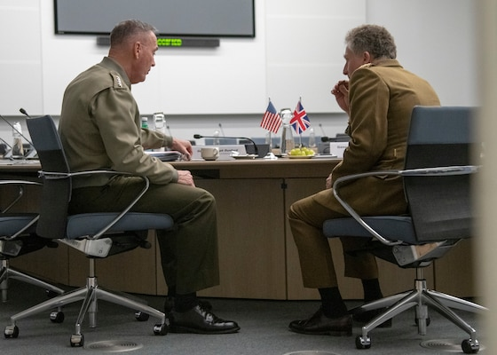 Marine Corps Gen. Joe Dunford, the chairman of the Joint Chiefs of Staff, meets with his U.K. counterpart Army Gen. Sir Nicholas Carter, chief of Defense Staff, in between sessions of the North Atlantic Treaty Organization (NATO) Military Committee in Chiefs of Defense Session (MC/CS) in Brussels, Belgium, Jan. 15, 2019.