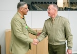Marine Corps Gen. Joe Dunford, the chairman of the Joint Chiefs of Staff, meets with his Pakistani counterpart Gen. Zubair Mahmood Hayat, chairman Joint Chiefs of Staff Committee, in between sessions of the North Atlantic Treaty Organization (NATO) Military Committee in Chiefs of Defense Session (MC/CS) in Brussels, Belgium, Jan. 15, 2019.
